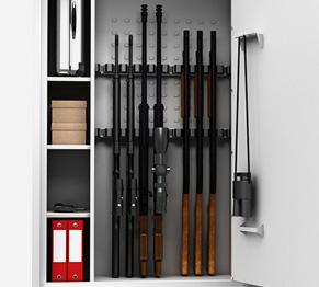 Waffenschränke für Kurzwaffen und Langwaffen, Munition, Unterlagen und Zubehör.