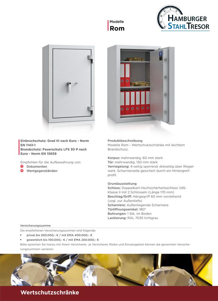Wertschutzschrank Baureihe Rom - Prospekt 2