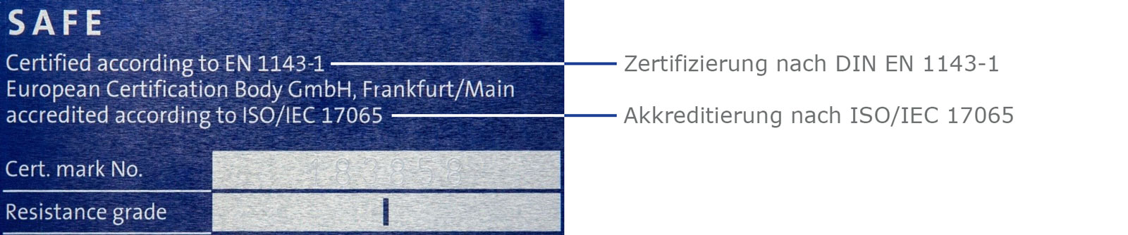 ECB-S Plakette - Akkreditierung nach ISO/IEC 17065 und Zertifizierung nach DIN EN 1143-1