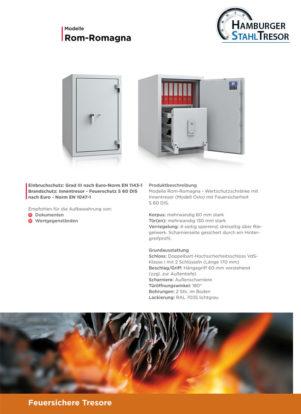 Feuersichere Tresore für Datensicherung Baureihe Rom-Romagna - Prospekt 1
