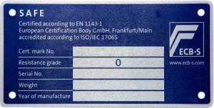 Waffenschrank ECBS-Plakette für Grad 0