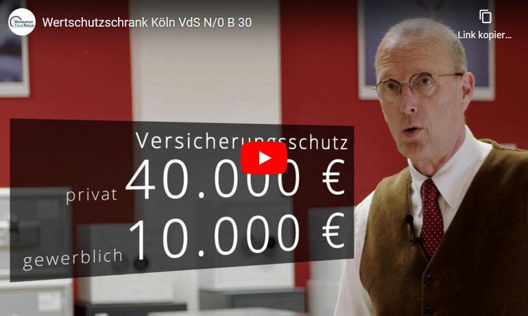 Video zum Wertschutzschrank Modell Köln VdS N/0 B 30