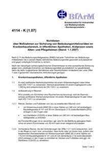 Richtlinien über Maßnahmen zur Sicherung von Betäubungsmittelvorräten - 4114 - K (1.07)