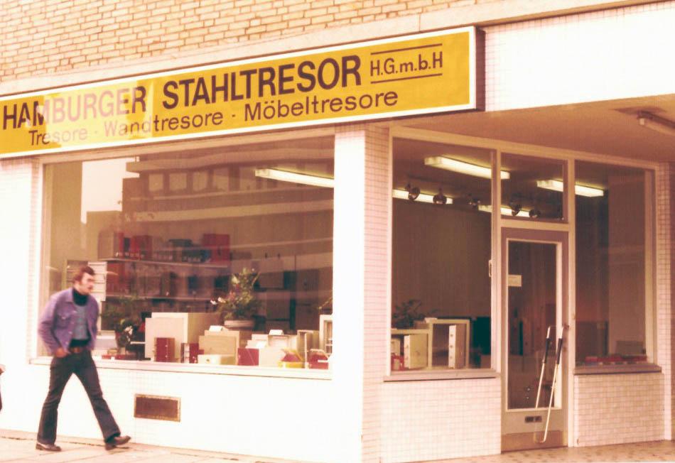 Die Eröffnung des Tresorladens im Jahre 1971 in der Hamburger Innenstadt